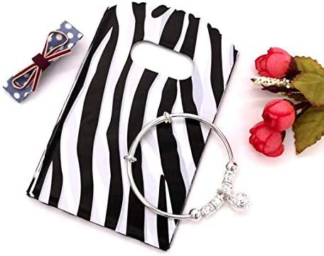 100 Count Zebra Print Plastic Merchandise Bags, Shopping Bags, Retail Bags,Gift Bags with Die Cut Handles for Earing, Jewelry, Retail 3.5