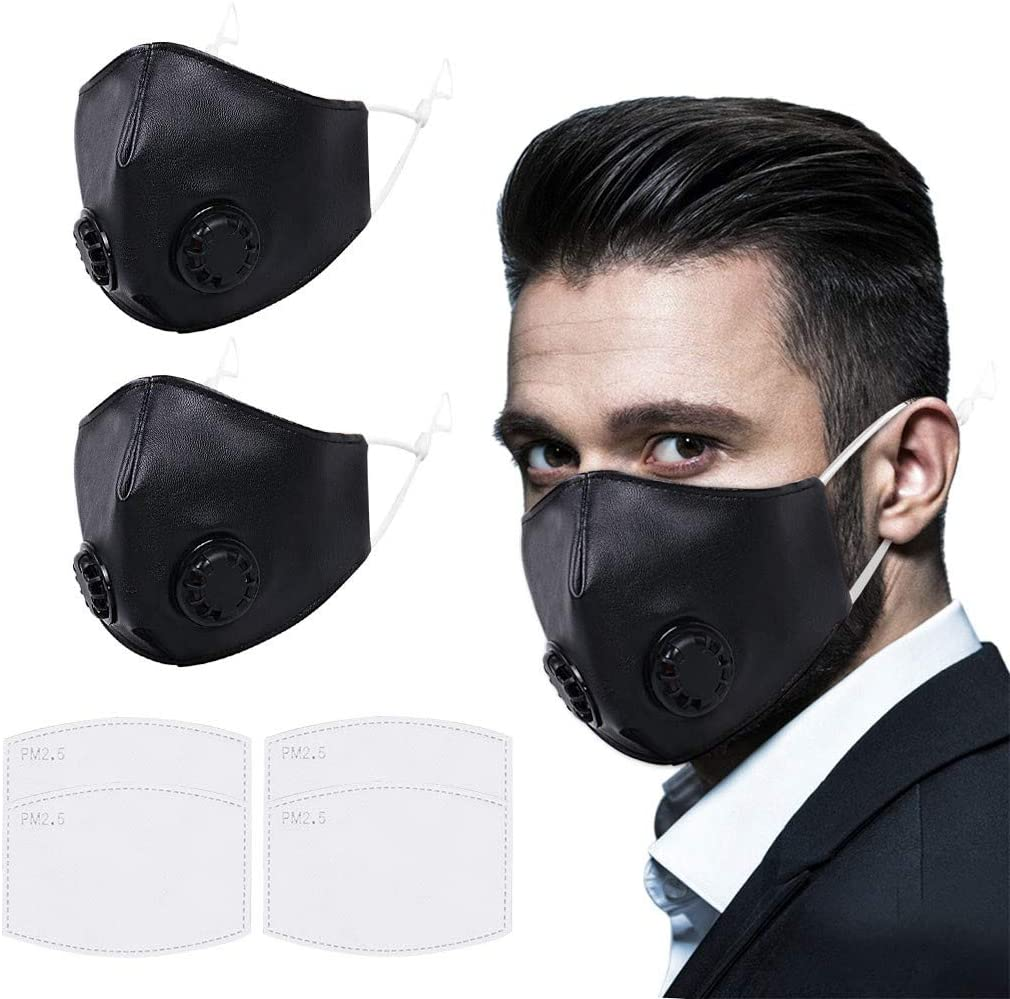 Mens Reusable Leather Face Covering with Double Breathing Valve, Activated Carbon Gasket Filter Washable Mouth Nose Bandanas for Windproof Outdoor