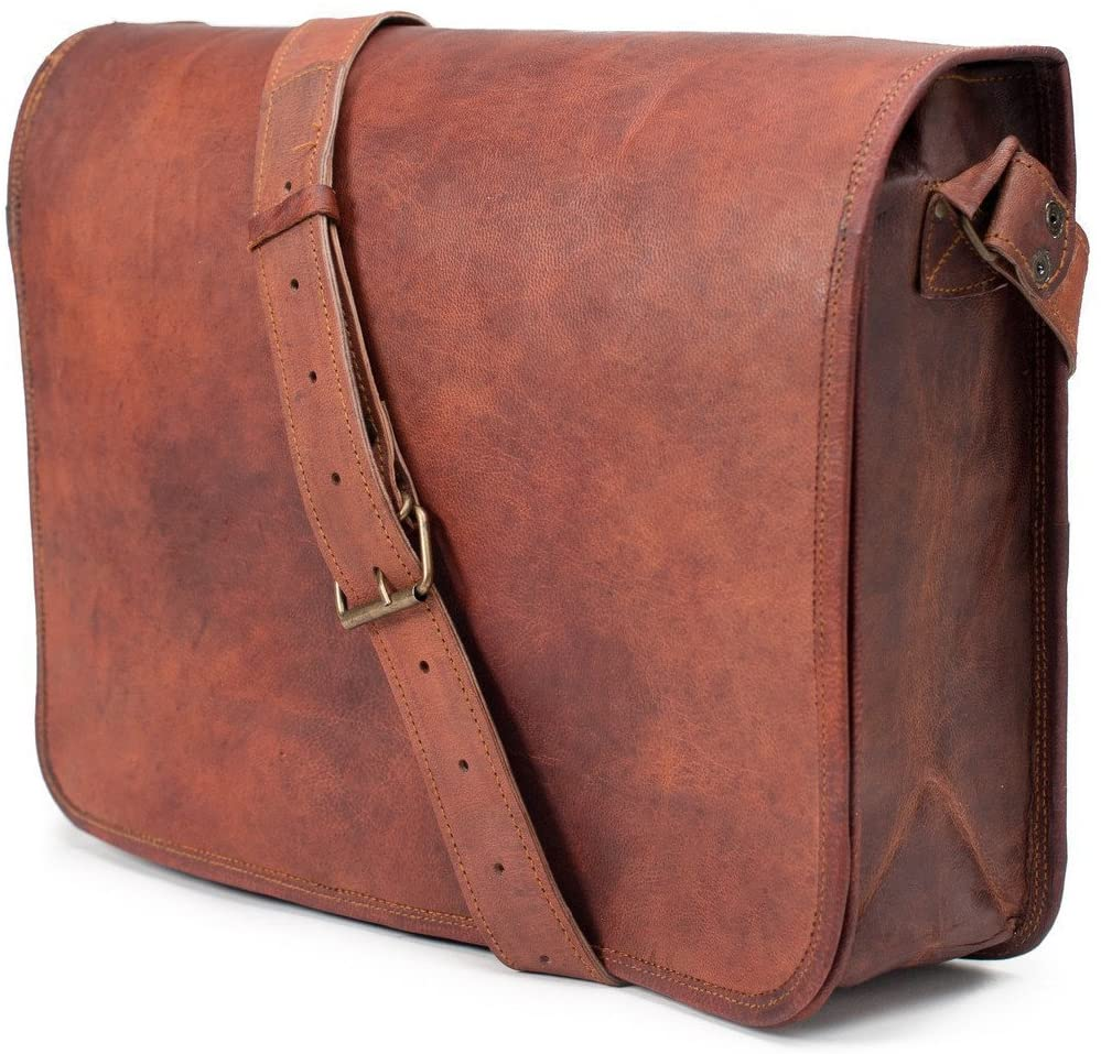 ANUENT Leather Bags Vintage Soft Leather Messenger Brown Real Laptop Satchel Bag Genuine Briefcase (Dark Brown)