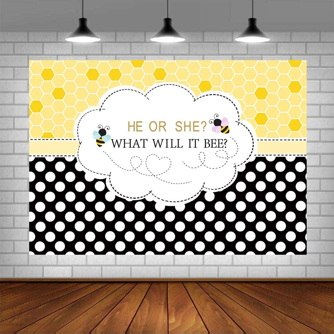 Bee Gender Reveal Photo Backdrop Boy or Girl Photography Background 5x3ft He or She Bees Party Decorations Banner Photo Booth Props