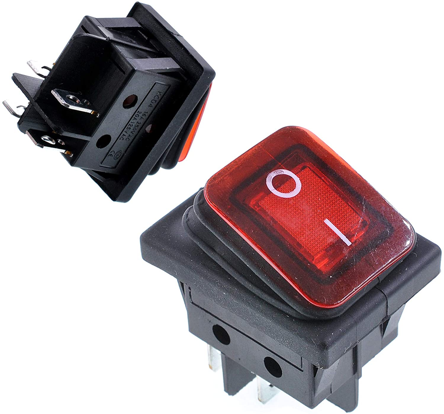 Oiyagai 2Pcs Waterproof Boat Type Rocker Switch DPST Red 6A 250V 4 Pin 2 Position ON-Off Mini Rocker Switch Red