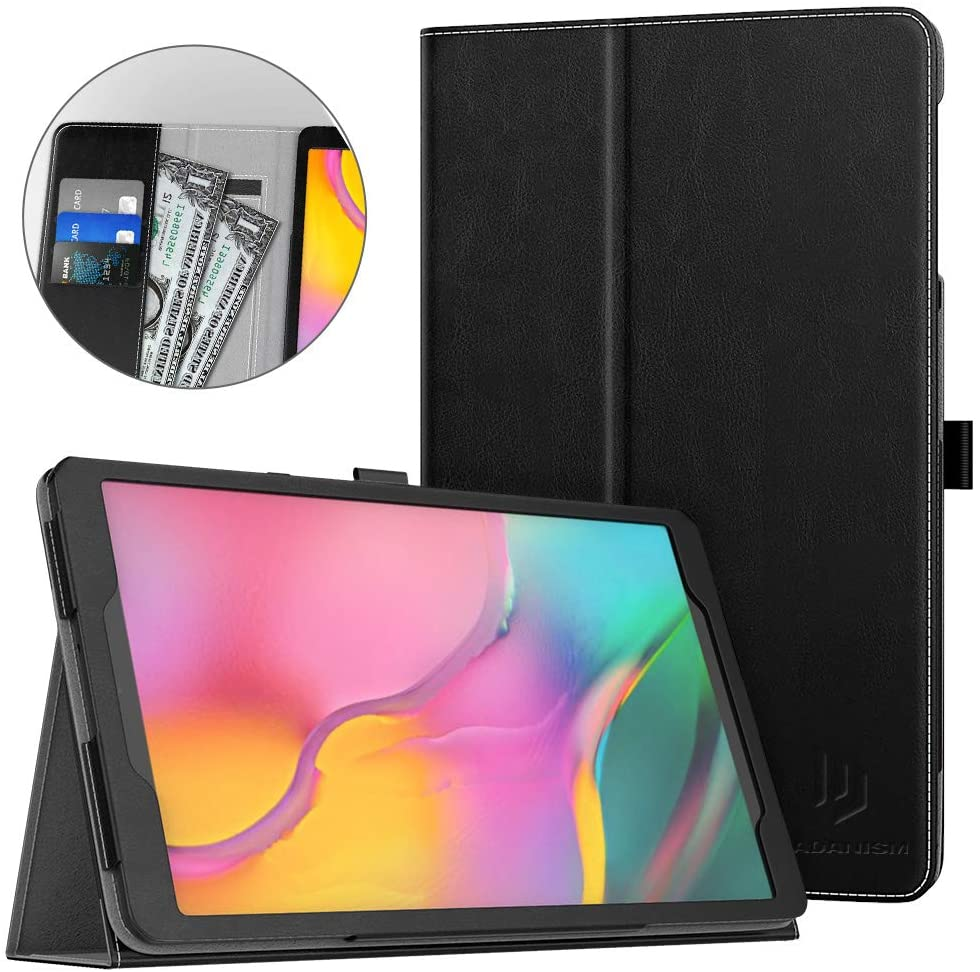 Dadanism Case Fit Samsung Galaxy Tab A 10.1 2019 Tablet (SM-T510 / SM-T515), Ultra Slim Lightweight Folding Stand Soft PU Back Cover with Card Slots & Hand Strap Fit Galaxy Tab A 10.1 2019 - Black