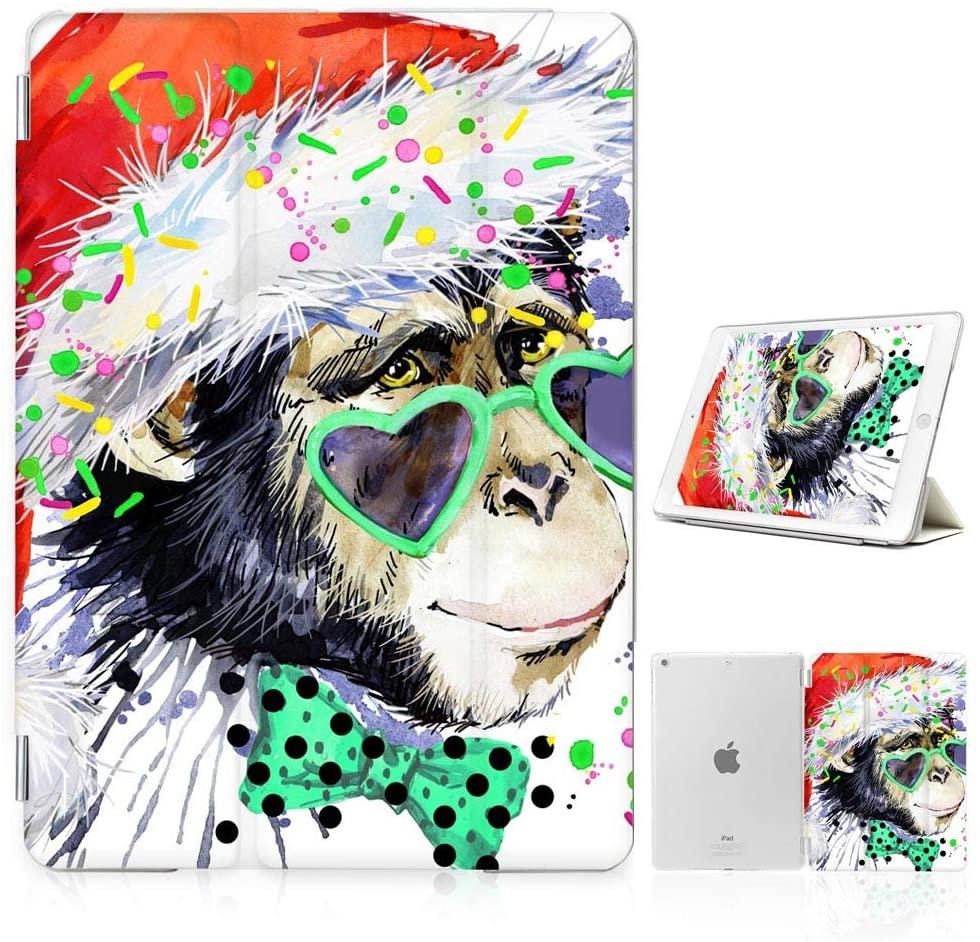 for iPad 5 5th Generaton, iPad 6 6th Generation, iPad 9.7 inch 2017 2018 Version, Designed Smart Case Cover, SMART40165 Christmas Gorilla 40165