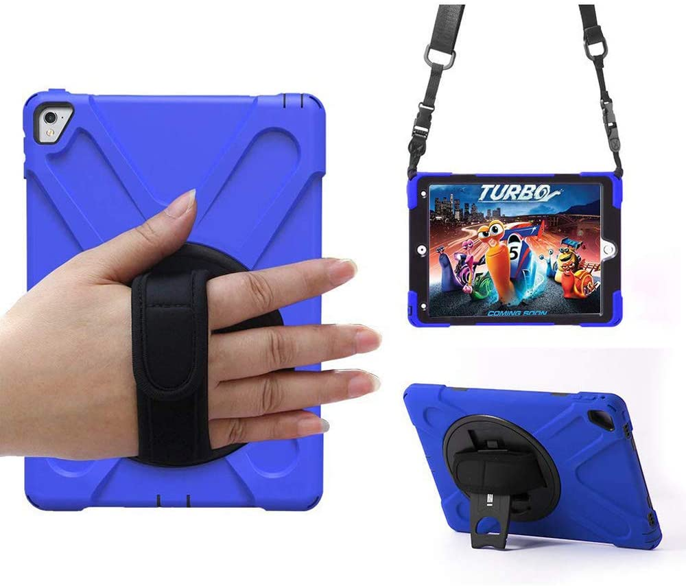WIKISH Compatible Protective Case Applied for iPad Pro 9.7 New Generation Tablet with 360 Degree Rotating Kickstand, Hand Shoulder Strap, Three Layer Shockproof Silicone Case