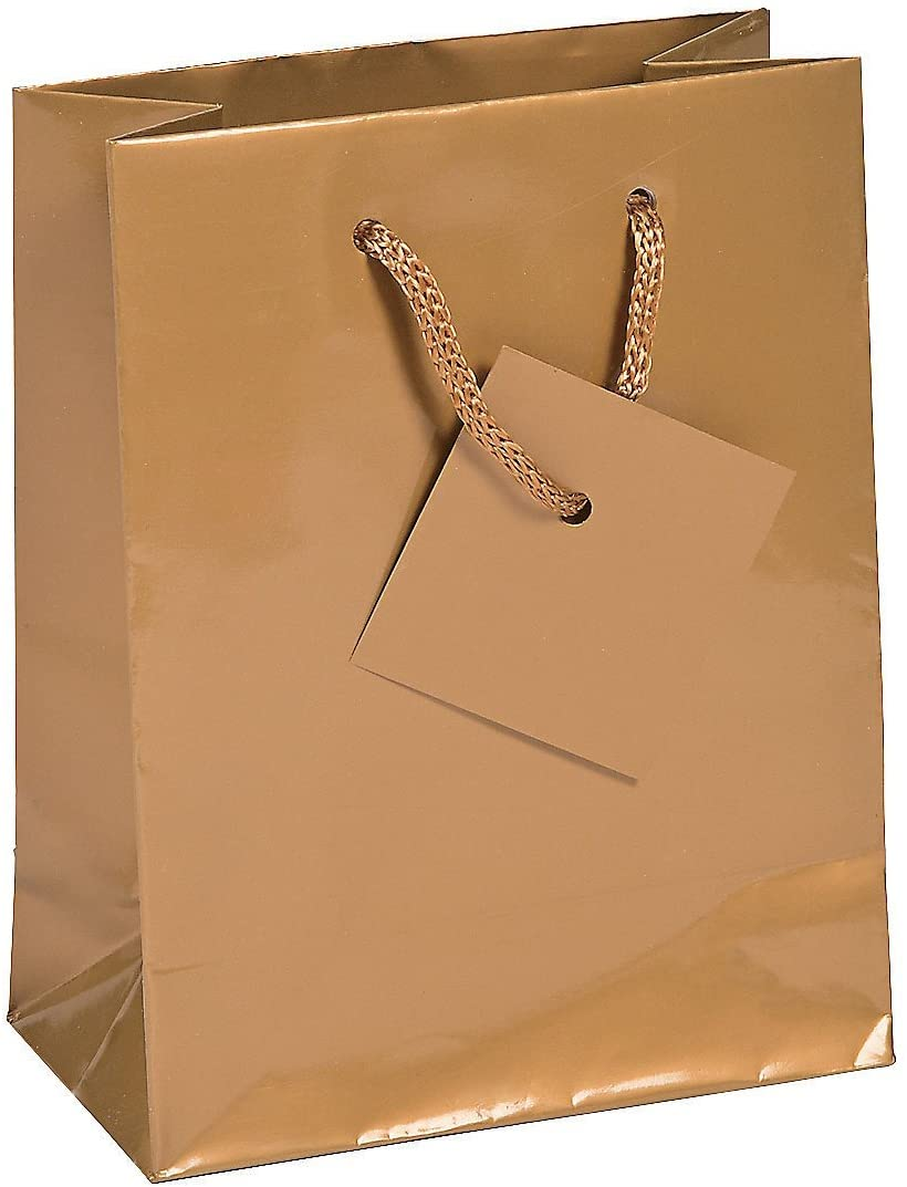 Small Gold Gift Bags with Tags (12 Pieces) Paper 4 1/4 x 2 1/2