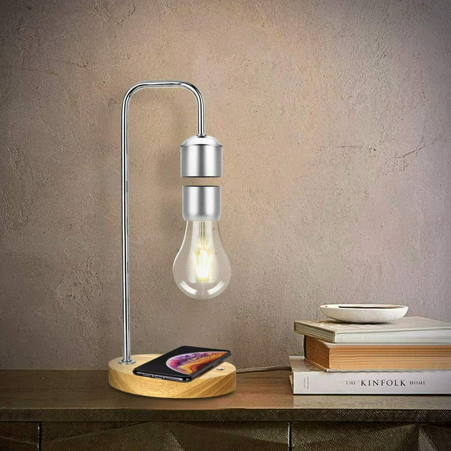 Modern Unique Levitating Lamp with Floating Light Bulb, Simplistic and Innovative Design, Warm Decorative Night Light