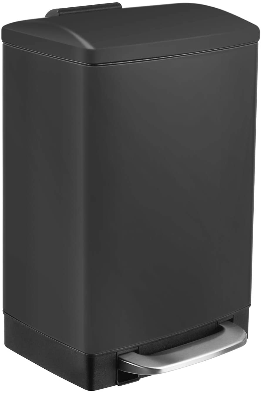 Homfa Trash Can 3.2 Gallon(12L), Metal Step Rubbish Bin with Removable Inner Bucket and Hinged Lid, Soft-Close Garbage Bin for Bathroom Kitchen Office, Black
