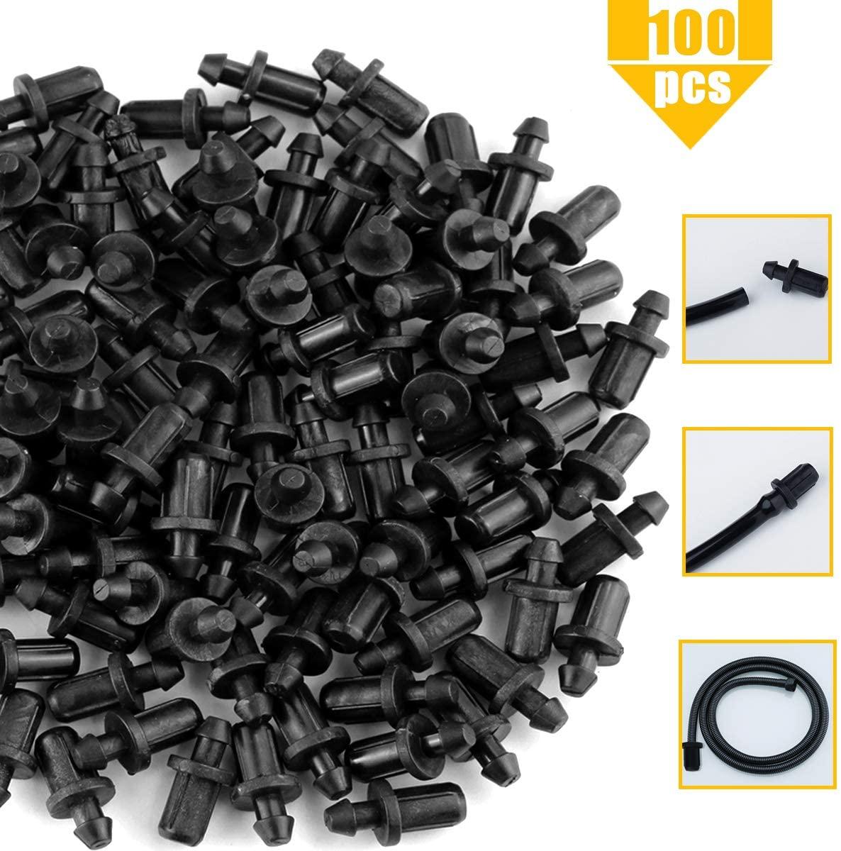 YG_Oline 100 Pcs Black Plug Drip Irrigation Tubing Plug Drip Barbed End Plug Goof Plugs Drip End Plug Closure