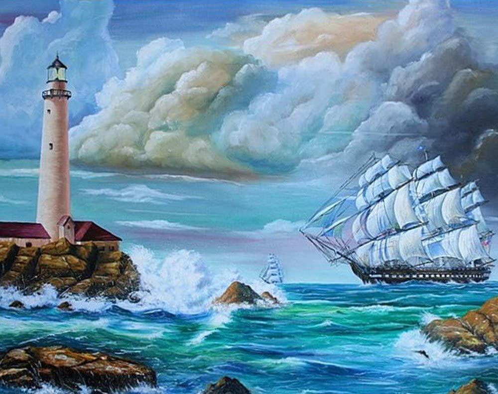 Wowdecor 5D Diamond Painting Kits, Sailboat Lighthouse Wave Sea View, Full Drill DIY Diamond Art Cross Stitch Paint by Numbers