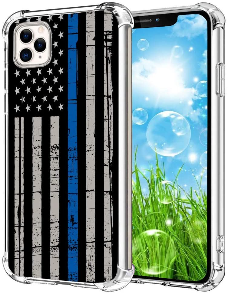 Crystal Clear iPhone 11 Pro Case,Soft and Flexible Silicone Ultra-Thin Shockproof Transparent Bumper Design Protective Cover,Case for iPhone 11 Pro,Retro Thin Blue Line American Flag