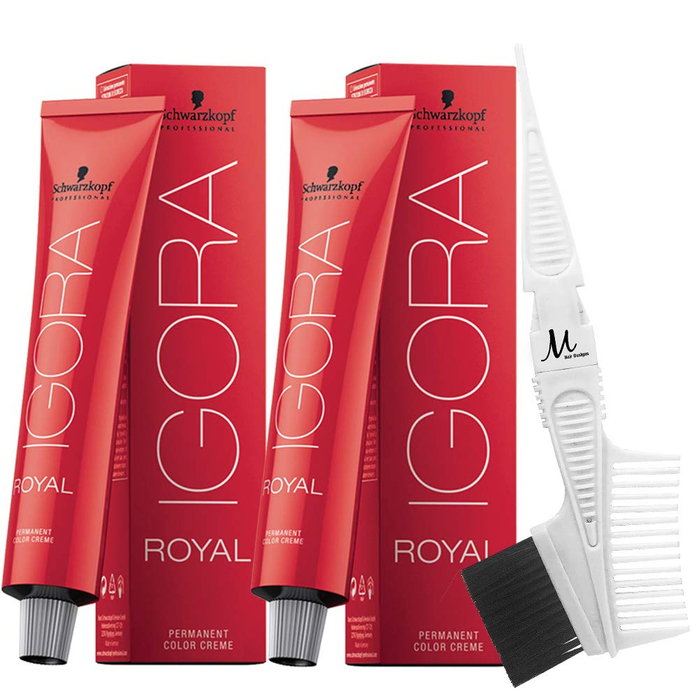 Schwarzkopf Igora Royal Permanent Hair Colors 5-00 and M Hair Designs Tint Brush/Comb (Bundle - 3 items)