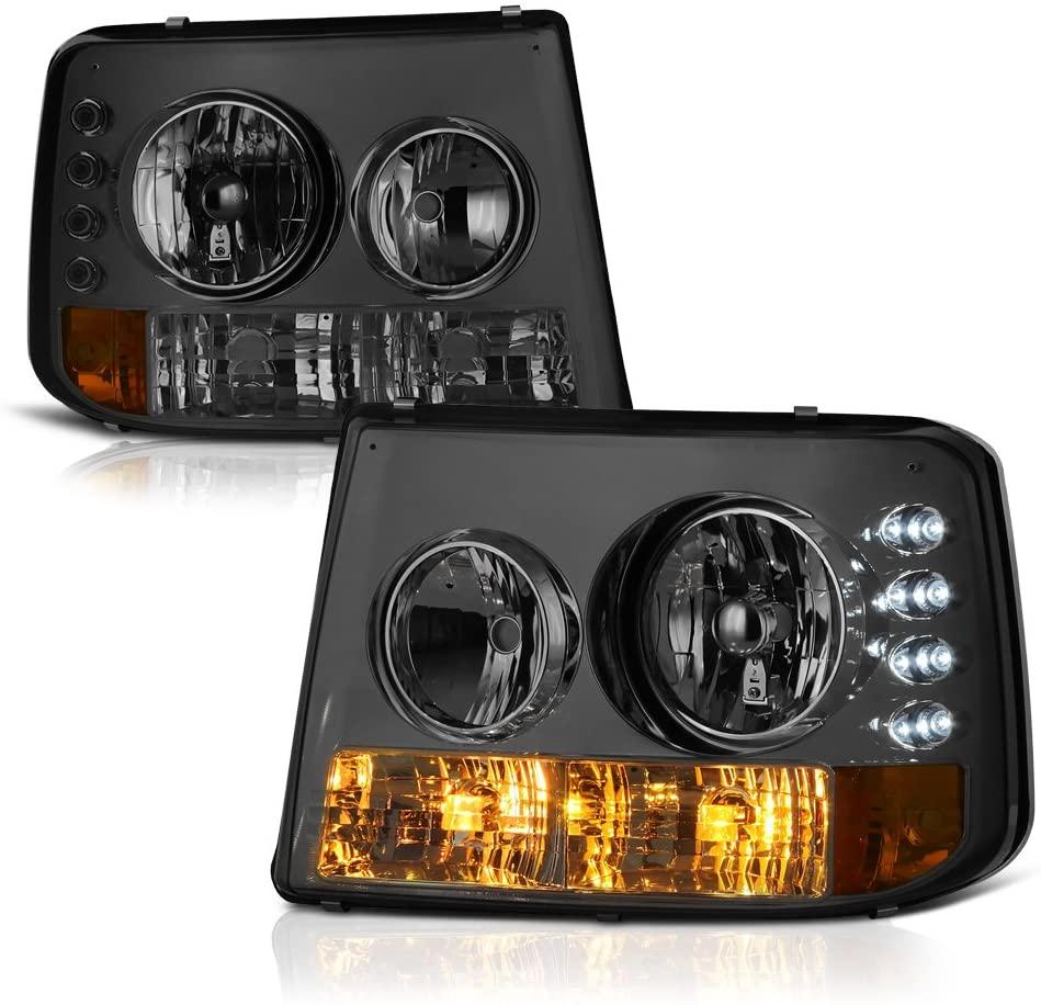 VIPMOTOZ Headlight & Bumper Lamp 1-Piece Conversion For 2000-2006 Chevy Tahoe Suburban & 1999-2002 Silverado 1500 2500 3500 - Metallic Chrome Housing, Smoke Lens, Driver and Passenger Side
