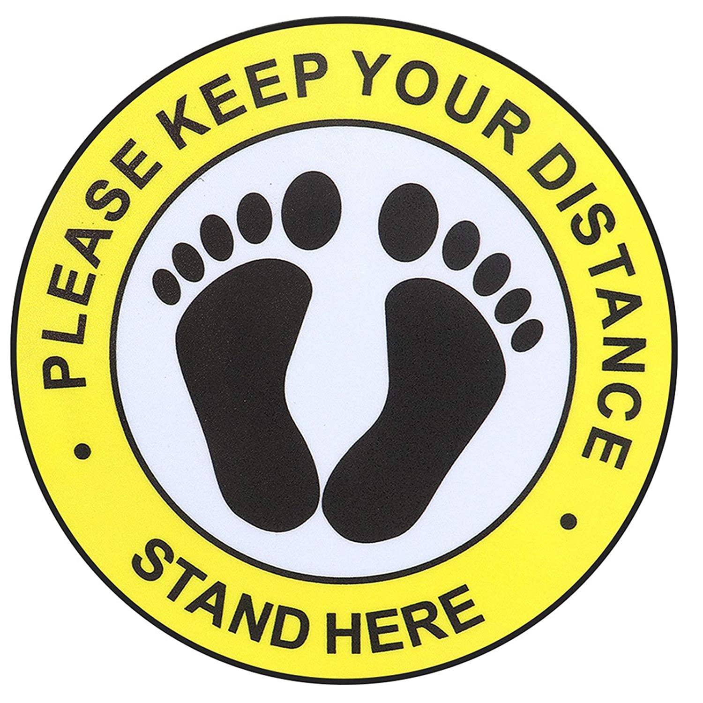 8inchs Social Distance Floor Decal Stickers 12 Packs Waterproof Non-Slip Floor Stickers -Keep 6 Feet Apart Social Distance Decals Sign