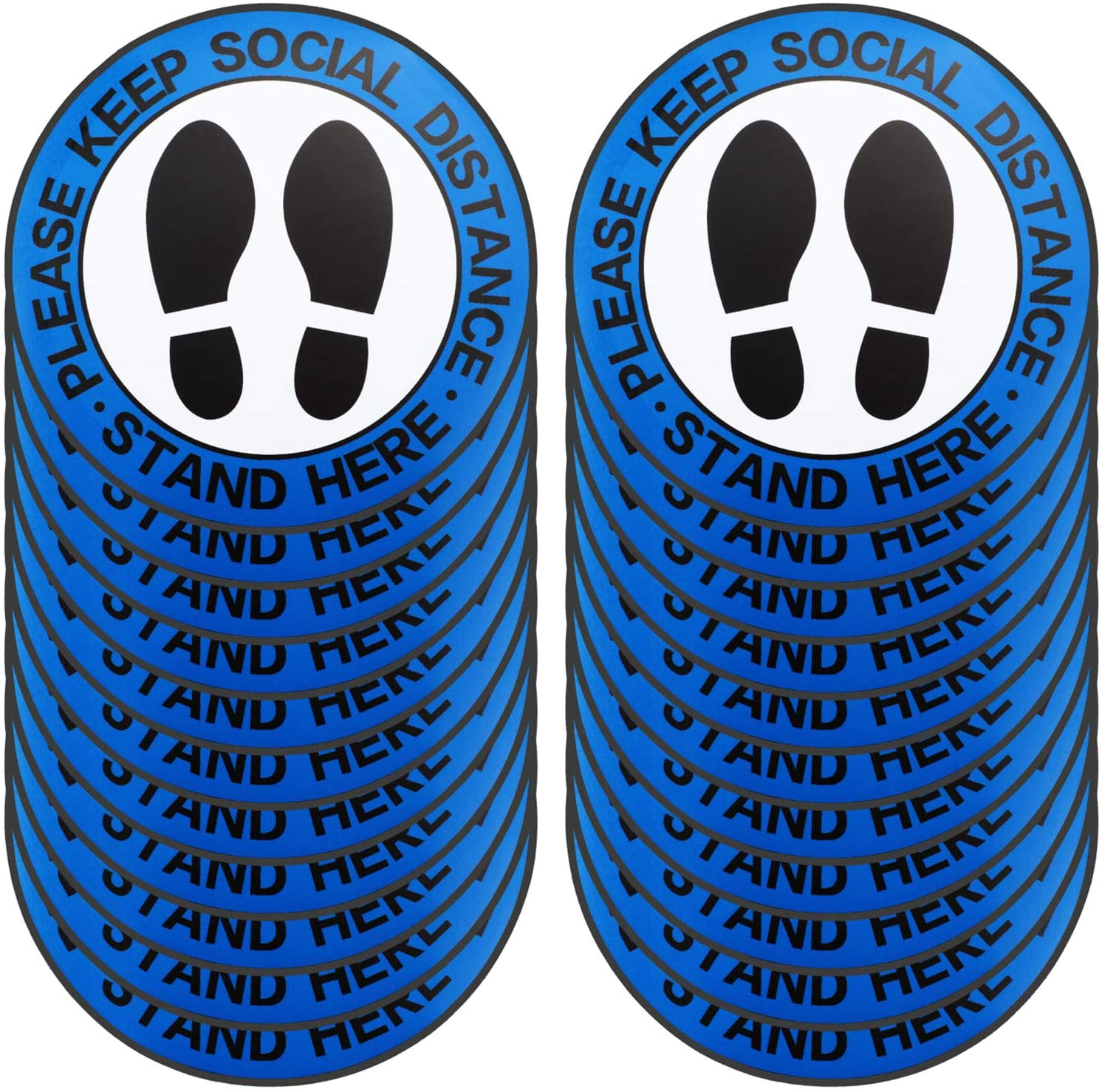 30 Pieces 8 Inch Social Distance Floor Decals 6 Feet Apart Sticker Round Vinyl Removable Anti-Slip Textured Floor Safety Stickers Signs Please Keep Social Distance, Peel and Stick Adhesive (Blue)