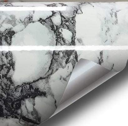 Black White Veined Marble Gloss Vinyl Architectural Wrap for Home Office Furniture Wallpaper Tile Sheet 24 inches x 6.5ft Roll (24 inches x 6.5ft 3-roll Pack)