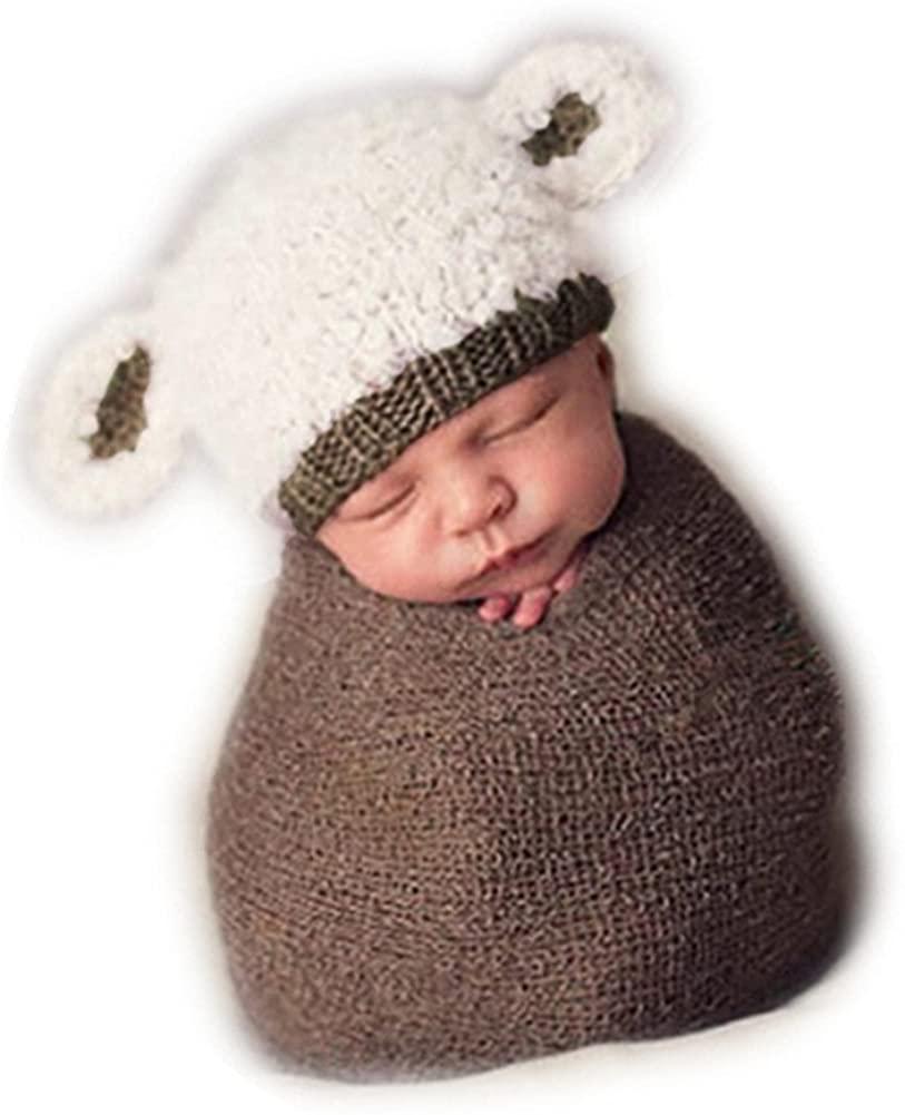 Newborn Baby Photo Shoot Props Girl Boy Crochet Knitted Cute Animal Lamb Hat Photography Props