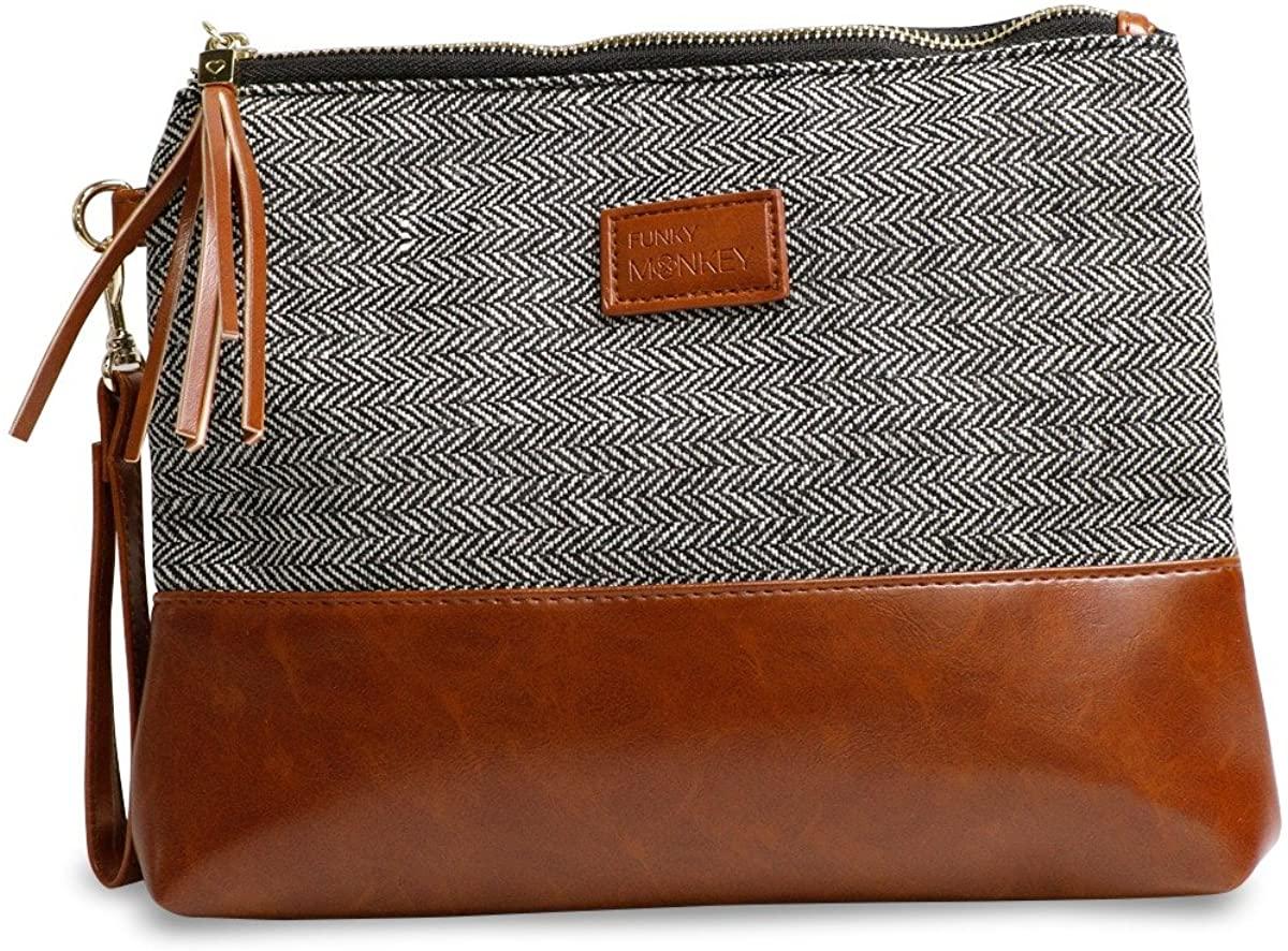 Wristlet Wallet Clutch Bag {Erika-Medium} Phone Purse Handbag Black Gray Herringbone Funky Monkey Fashion