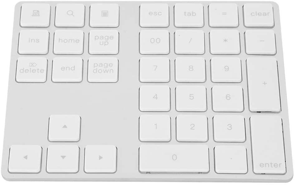 Bindpo Numeric Keypad, Ultra-Thin 34 Keys Numeric Keypad Mini Rechargeable Wireless Bluetooth 3.0 Numeric Keypad for Notebook, Laptop