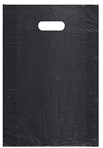 "SSWBasics Medium High Density Black Plastic Merchandise Bags - 12""W x 3""D x 18""H - Case of 1000"