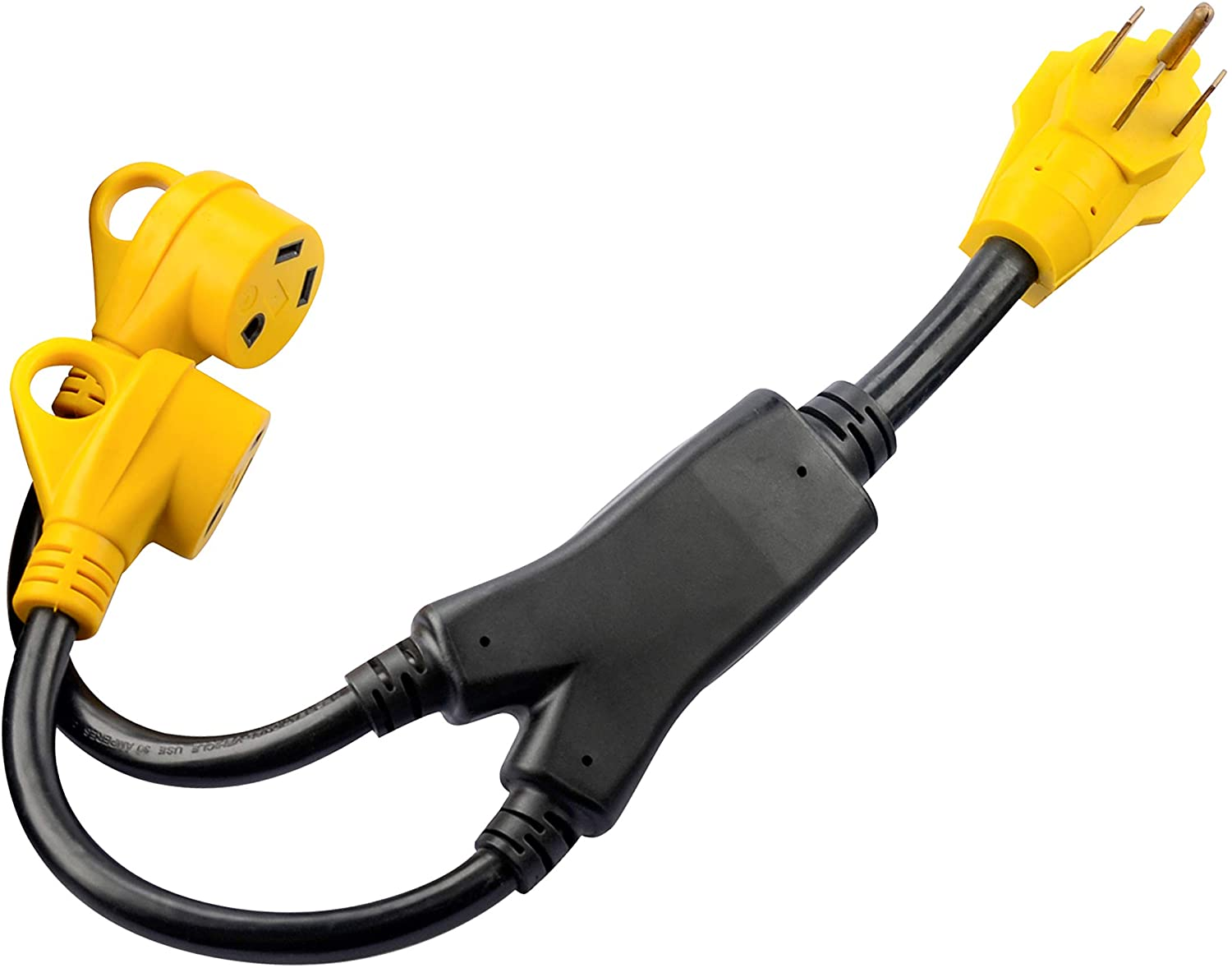 RVGUARD RV Y Adapter Cord 50 Amp 14-50P Male Plug to Two 30 Amp TT-30R Female with LED Power Indicator and Grip Handle