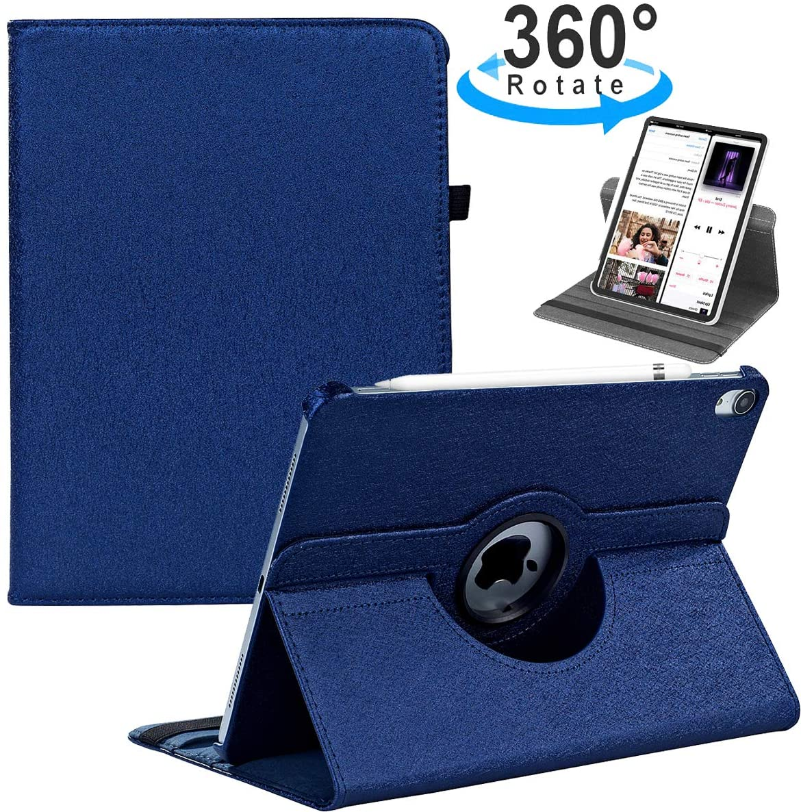 LRCXL Case for New iPad Pro 11 Inch 2018 - [Support Apple Pencil Charging] 360 Degree Rotating Multi-Angle Cover with Auto Sleep/Wake Function Swivel Case for Apple iPad Pro 11