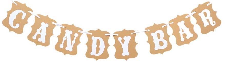 Candy Bar Party Banner,Wedding Party Reception Buffet Decoration Photography Banner Prop (White)