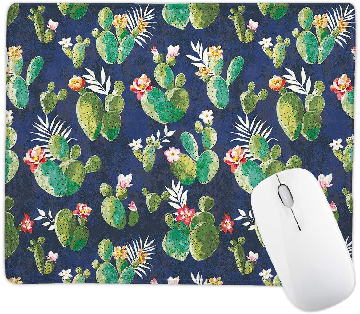 Cactus Mouse Pad for Laptop Computer,Office Mouse Pad with Design, Non-Slip Rubber Base Mousepad with Stitched Edge