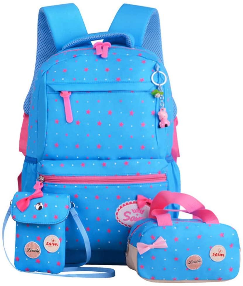 MITOWERMI Star Print and Bowknot Backpack Set Large Elementary Bookbag 3 Pcs set School bags for Teen Girls