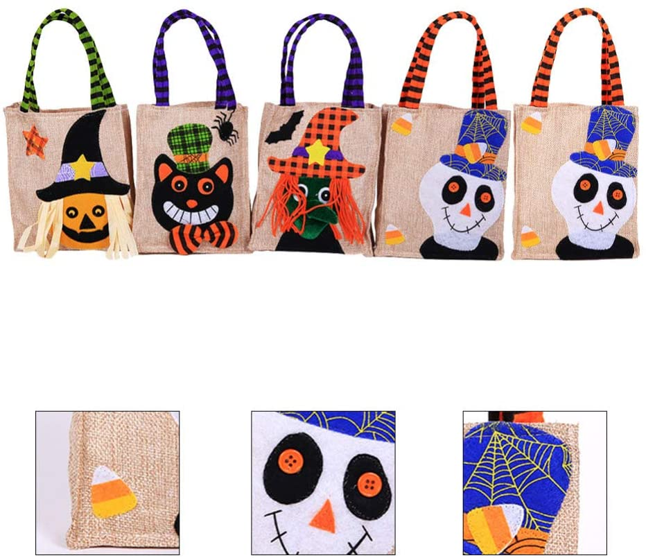 Clispeed 5pcs Halloween Gift Pouch Candy Tote Bag Gift Pouch Halloween Candy Bags for Boys Party Girls