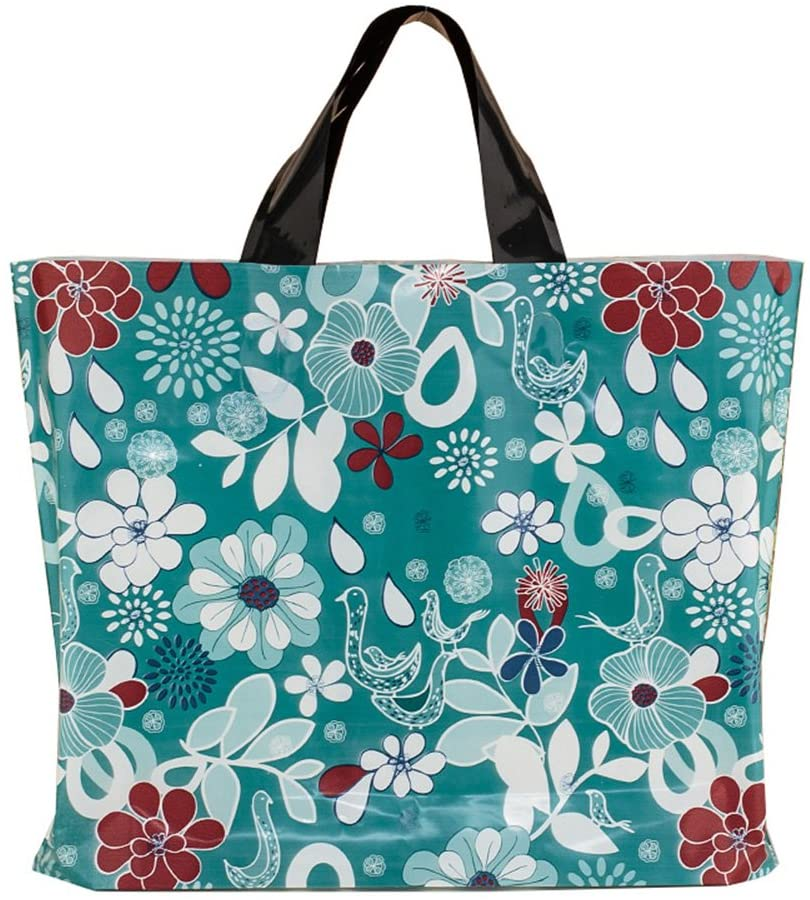 Merchandise Bags with Handles with Bottom Gusset, Plastic Shopping Bags Boutique Gift Bags,Size:15
