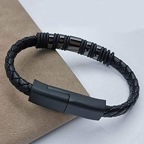 USB Charging Leather Bracelet Cable Upgraded (USB-C, Small, Black)