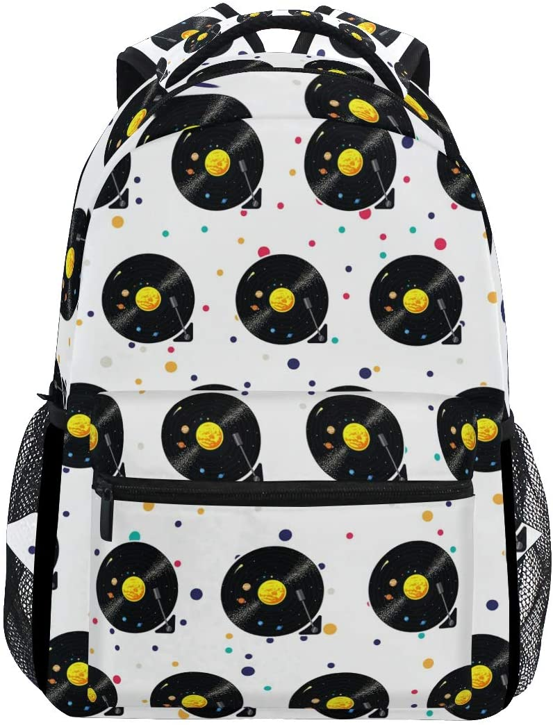 Stylish Vinyl Record Backpack- Lightweight School College Travel Bags, ChunBB 16 x 11.5 x 8