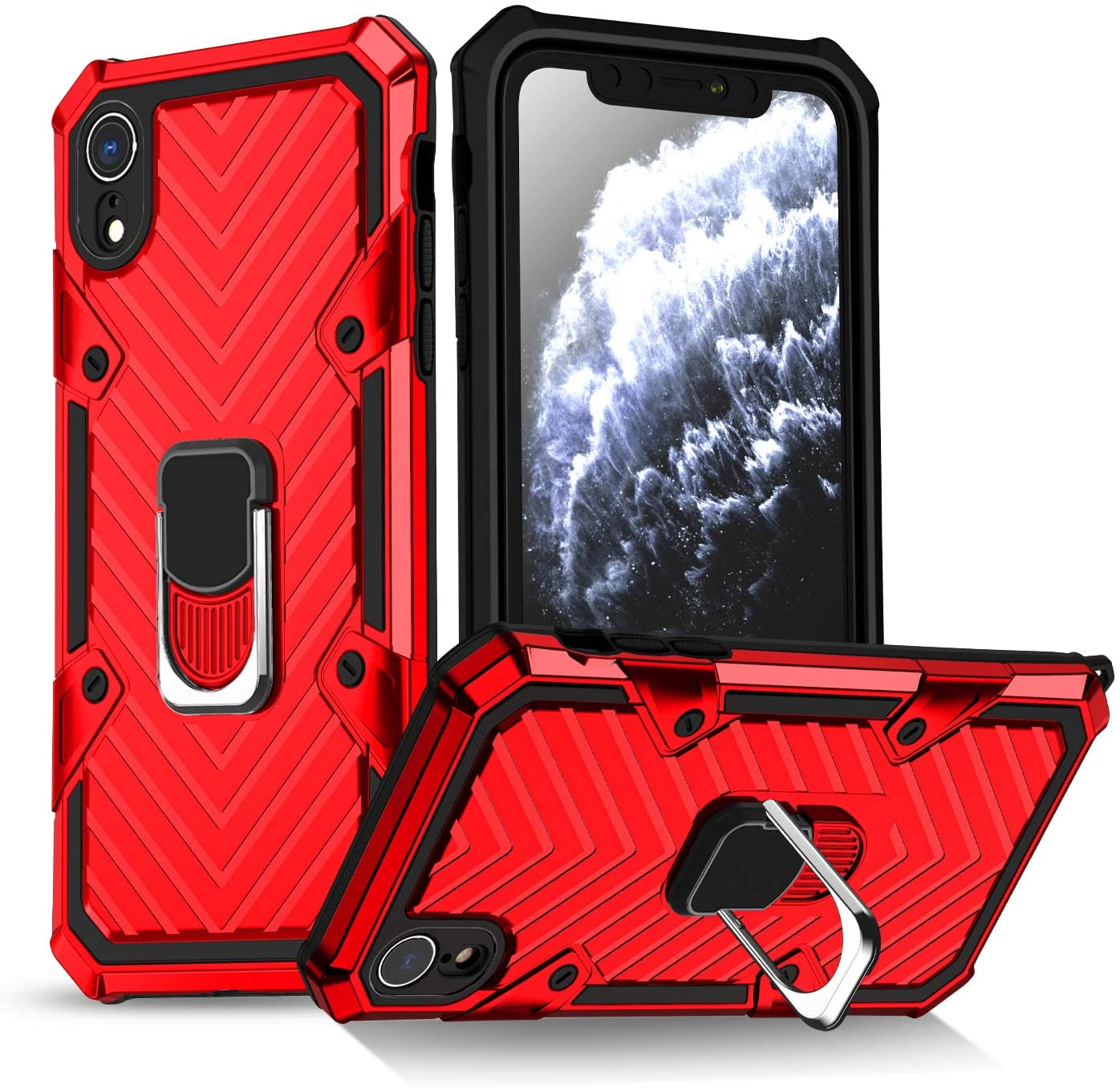 rejazz iPhone XR Case | Kickstand | [ Military Grade ] 15ft. SGS Drop Tested Protective Case | Compatible for Apple iPhone XR 6.1 Inch-Red (iPhone XR)