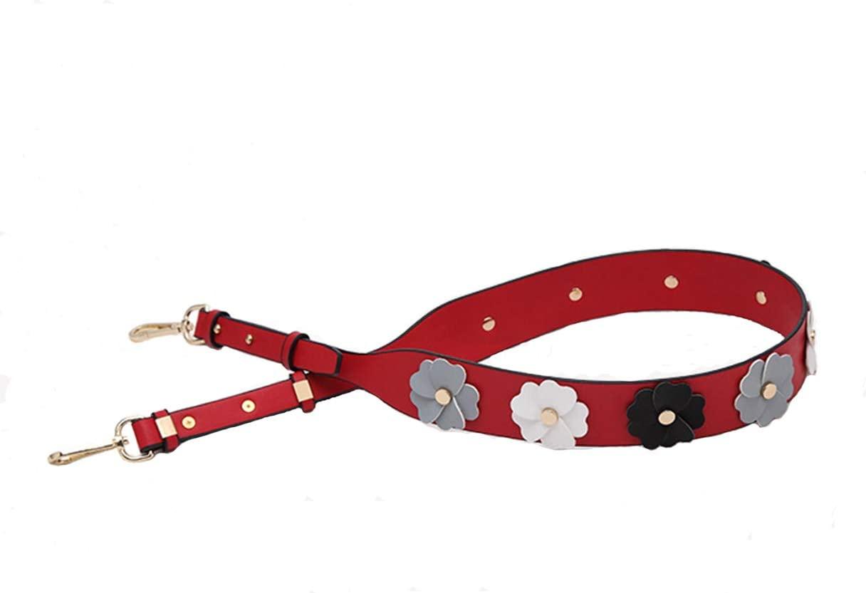 Flower Purse Straps Replacement Leather Handbags Shoulder Bag Straps (Flower Red)