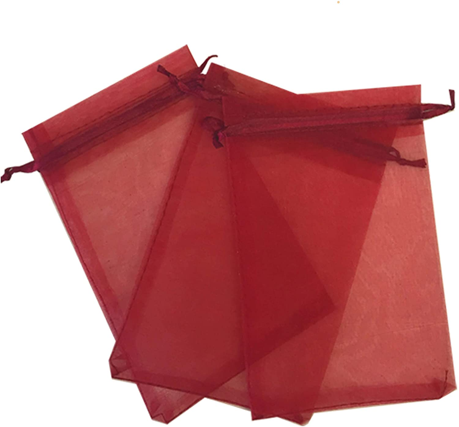 150 Pcs Burgundy 4x6 Sheer Drawstring Organza Bags Jewelry Pouches Wedding Party Favor Gift Bags Gift Bags Candy Bags [Kyezi Design and Craft]