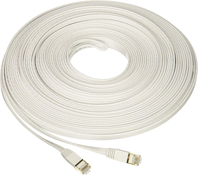 Nexhi Nexhi-STP-1800-07W CAT-7 Gigabit Ethernet Ultra Flat Patch Cable, White, 7'