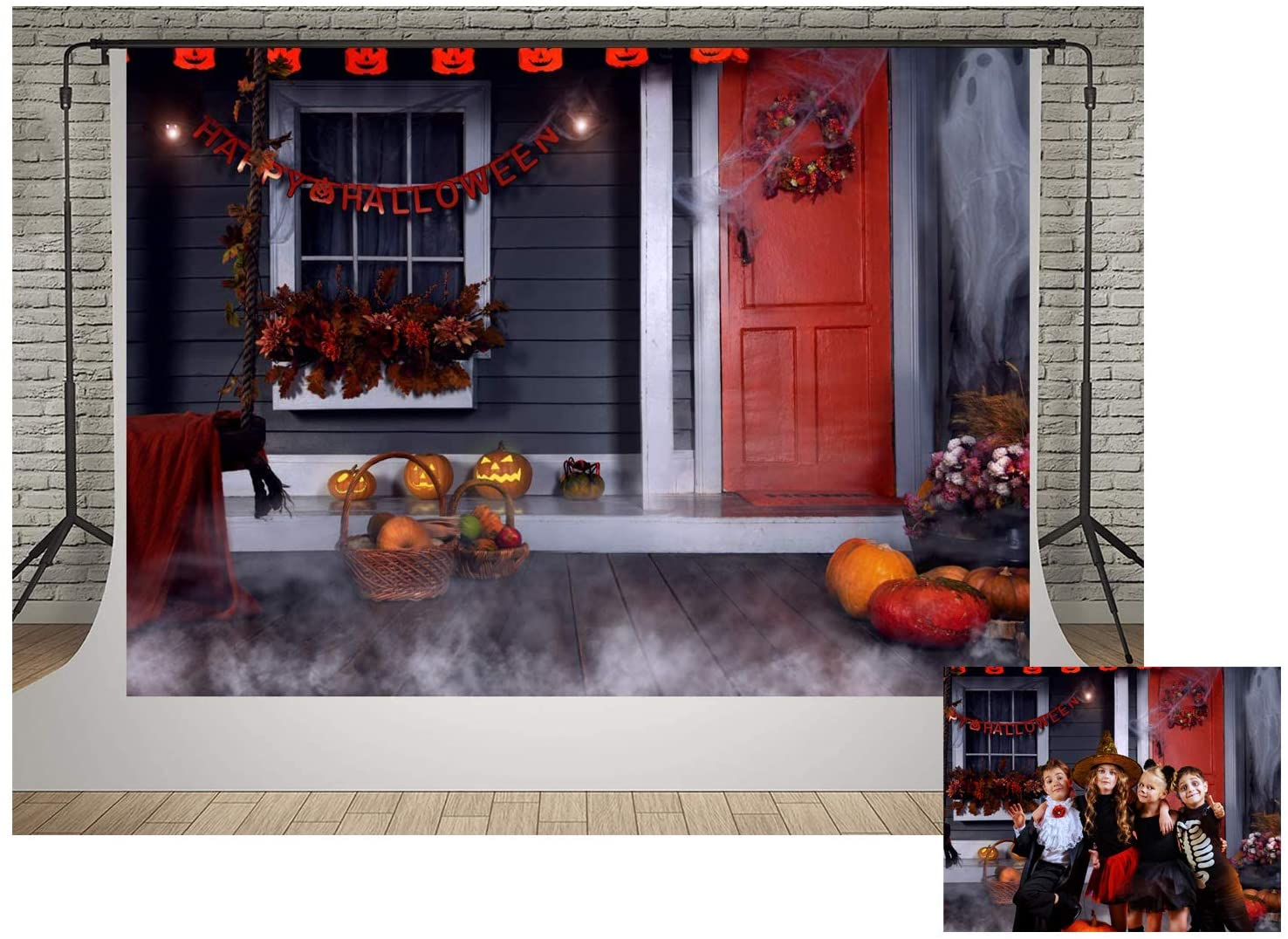 Kate Halloween Party House Window Decoration Photo Backgrounds 10x6.5ft Red Door Flowers and Pumpkim Wooden Floor Backdrops Photography Halloween Night Smoke Backdrop Video