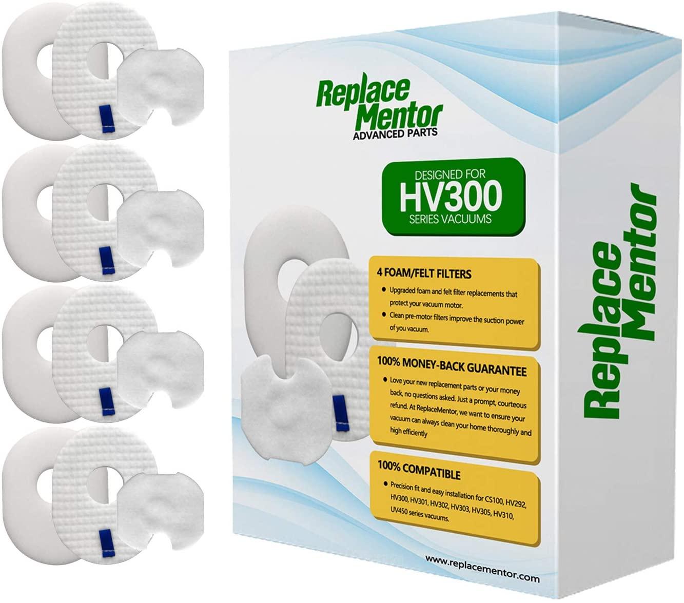 Replace Mentor 4 Allergen Pre-Filter + 4 Post Motor Filter Foam & Felt Replacement Filters for Shark Rocket Vacuum HV292, HV300, HV300W, HV301, HV302, HV303, HV305, HV310, UV450, CS100 Part # XFFV300
