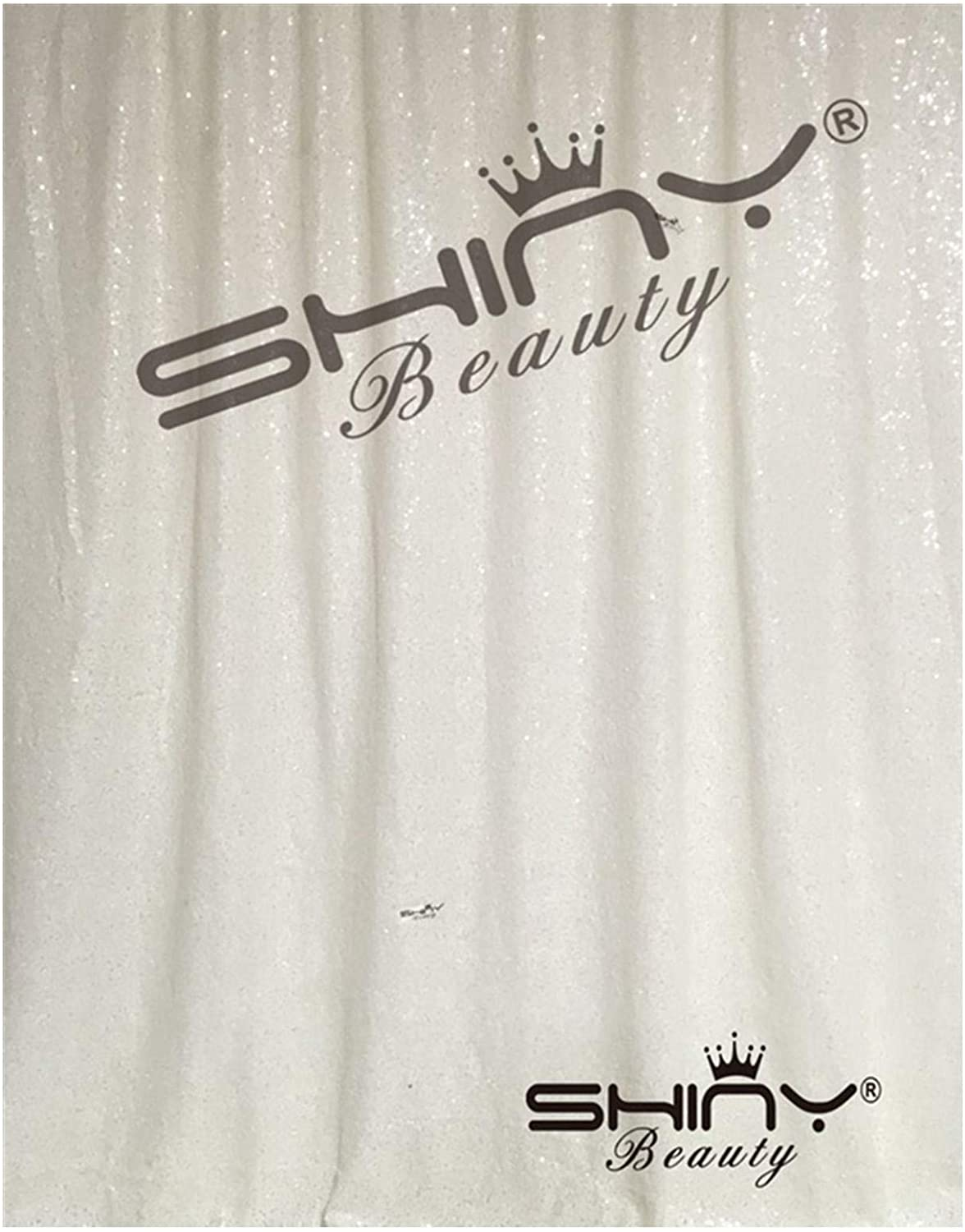 ShinyBeauty Sequin Backdrop 4FTx6FT-White Backdrop Photography and Photo Booth Backdrop for Wedding/Party/Photography/Curtain/Birthday/Christmas/Prom/Other Event Decor - 4FTx6FT(48inx72in) (White)