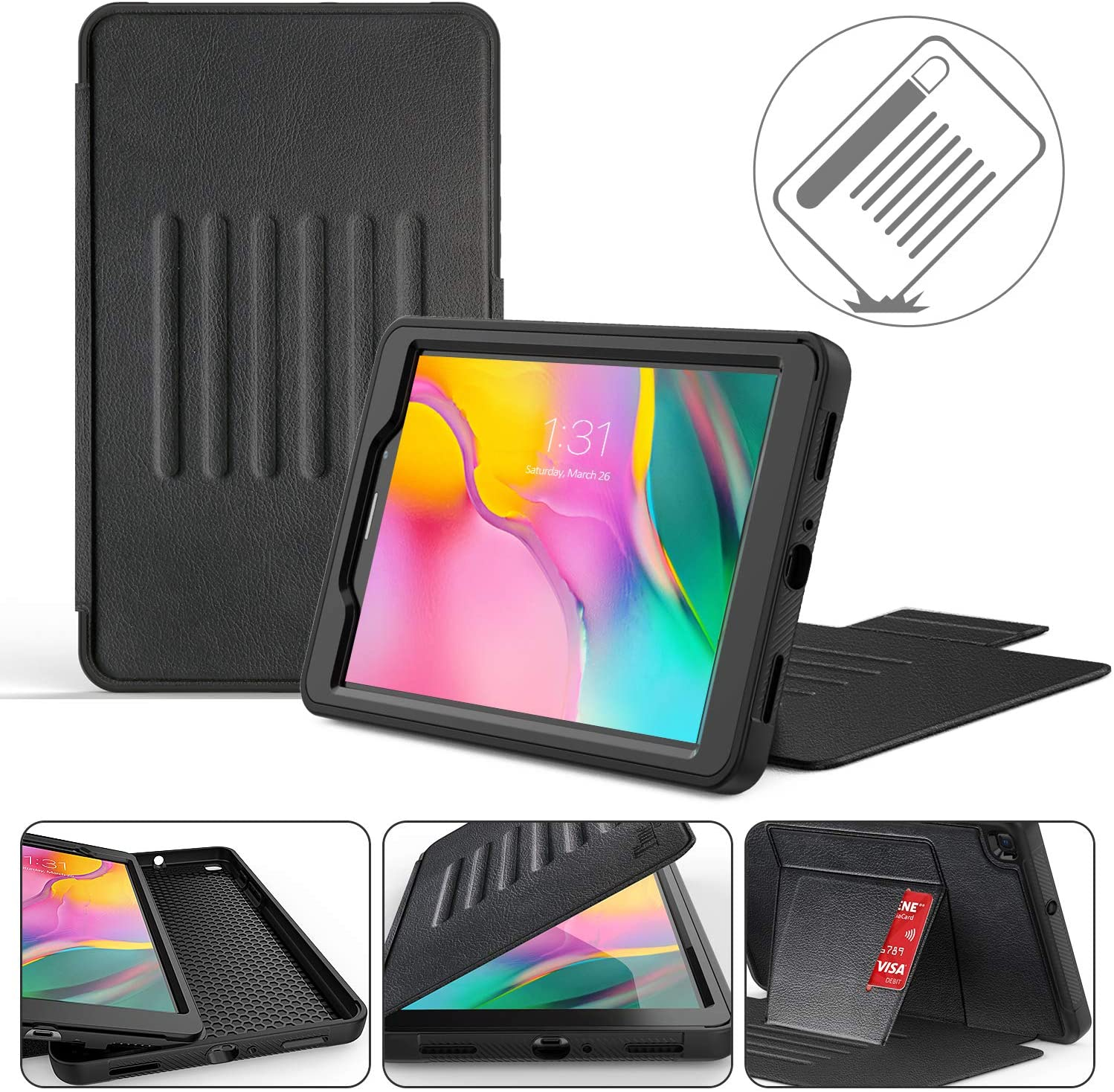 Timecity Compatible with Samsung Galaxy Tab A 8.0 Case 2019 SM-T290 Case, Premium Leather Cover with Adjustable Magnetic Stand Card Holder Magnetic Buckle, Case Designed for SM-T290/T295/T297, Black