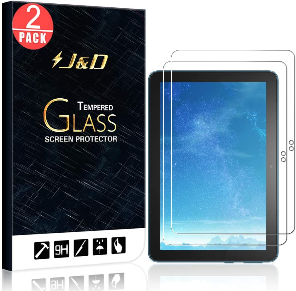 J&D Compatible for DHgate All-New Fire HD 8 Plus 2020/DHgate All-New Fire HD 8 2020 Glass Screen Protector, 2-Pack [Tempered Glass] [Not Full Coverage] HD Clear Ballistic Glass Screen Protector