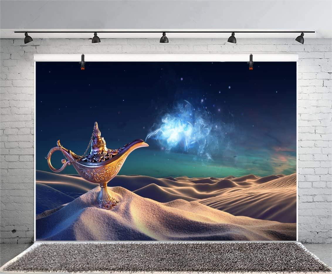 OERJU 5x3ft Aladdin and His Wonderful Lamp Backdrops Wild Desert Landscape Magic Lamp Night Scene Photography Background Rub The Lamp Children Adults Portrait Photo Shooting Studio Booth Props