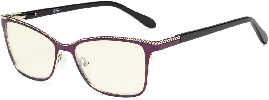 Eyekepper Computer Glasses,Blue Light Filter Eyeglasses,Square Design Frame for Women,Burnout Double Color Frame,Purple-Silver