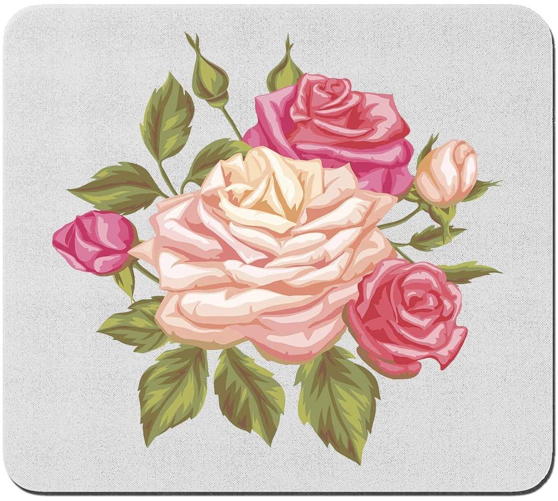 Dainty Pink Sketch Rose Flowers and Leaves Custom Mouse Pad Gaming Mat Keyboard Pad Waterproof Material Non-Slip