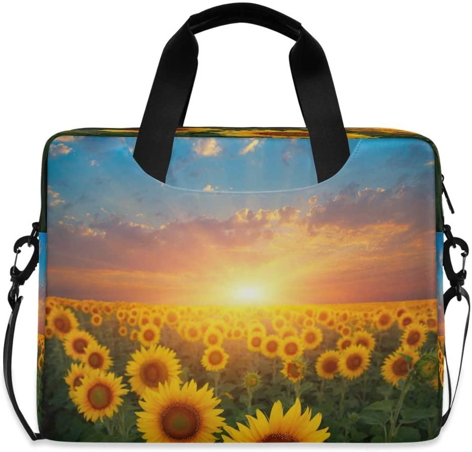 CCDMJ Laptop Case Sunset Sunflower Garden Floral Laptops Sleeve Shoulder Messenger Bag Briefcase Notebook Computer Tablet Bags with Strap Handle for Women Man Boys Girls 16 Inch