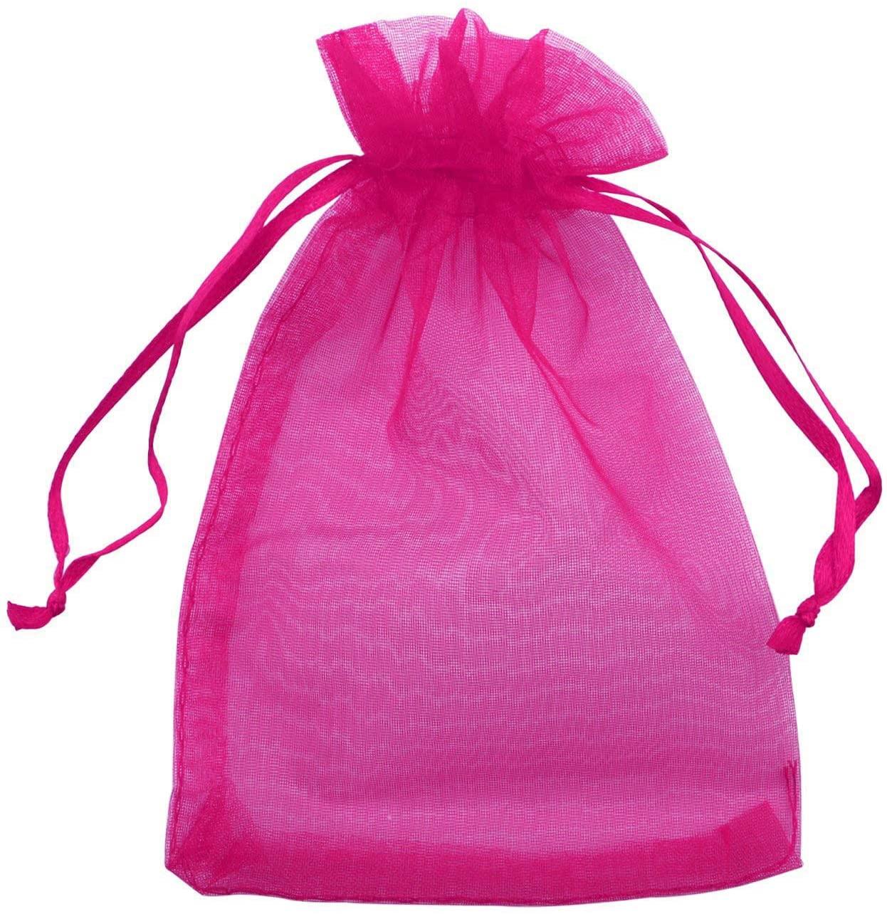 Allgala 100 Count Orangza Gift Party Favor Bags with Drawstring-4x6 Inch-Fuchsia-PF53111
