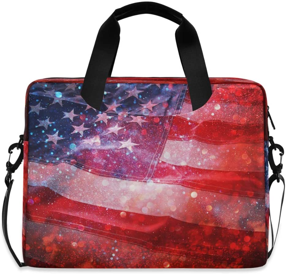 CCDMJ Laptop Case Galaxy USA American Flag Laptops Sleeve Shoulder Messenger Bag Briefcase Notebook Computer Tablet Bags with Strap Handle for Women Man Boys Girls 16 Inch