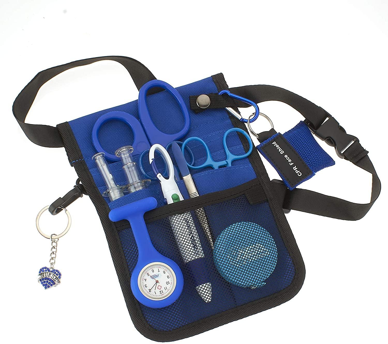 AsaTechmed Medical Belt Utility Kit, Nurse Pro Pack Pocket Organizer Pouch Hip Bag | Antimicrobial, EMT, CNA, NP, PA, Student, Nurse Kit (Blue)