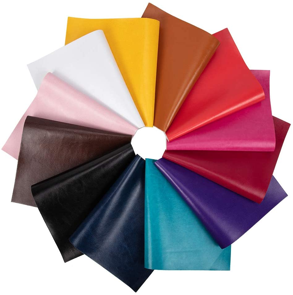 BENECREAT 12pcs 8X 13 Inch(20x34cm) Faux Leather Sheets Canvas Back for DIY Bows Earrings Ornaments Making