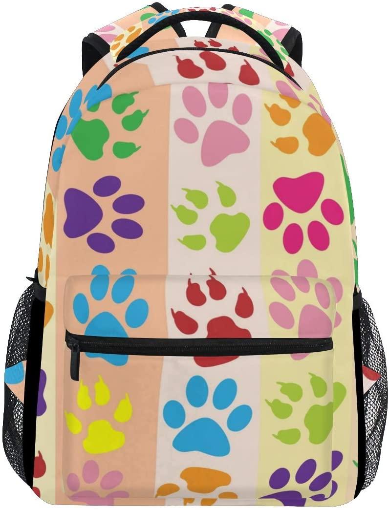 Stylish Dog Paws Backpack- Lightweight School College Travel Bags, ChunBB 16 x 11.5 x 8